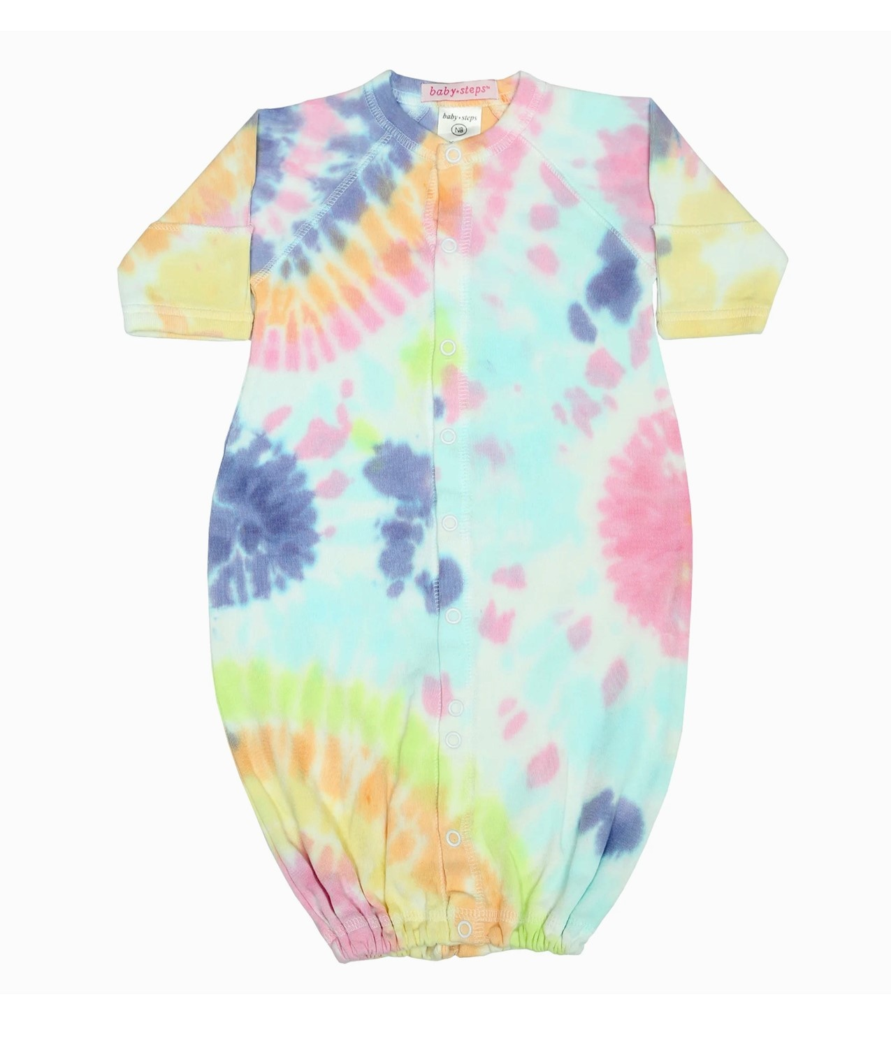 Baby Steps Colorful Rainbow Tie Dye Converter Gown NB