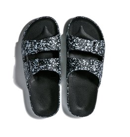 Freedom Moses Slide Sandals Black Splatter