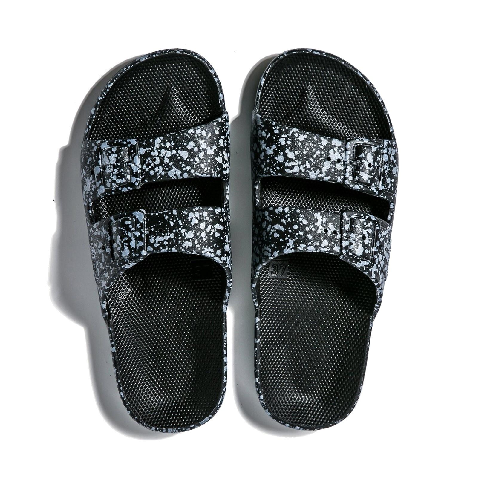 Freedom Moses Slide Sandals Black Splatter