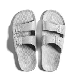 Freedom Moses Slide Sandals Silver Bling