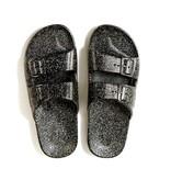 Freedom Moses Slide Sandasl Black Glitter