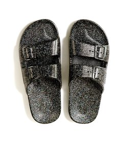 Freedom Moses Slide Sandals Black Glitter