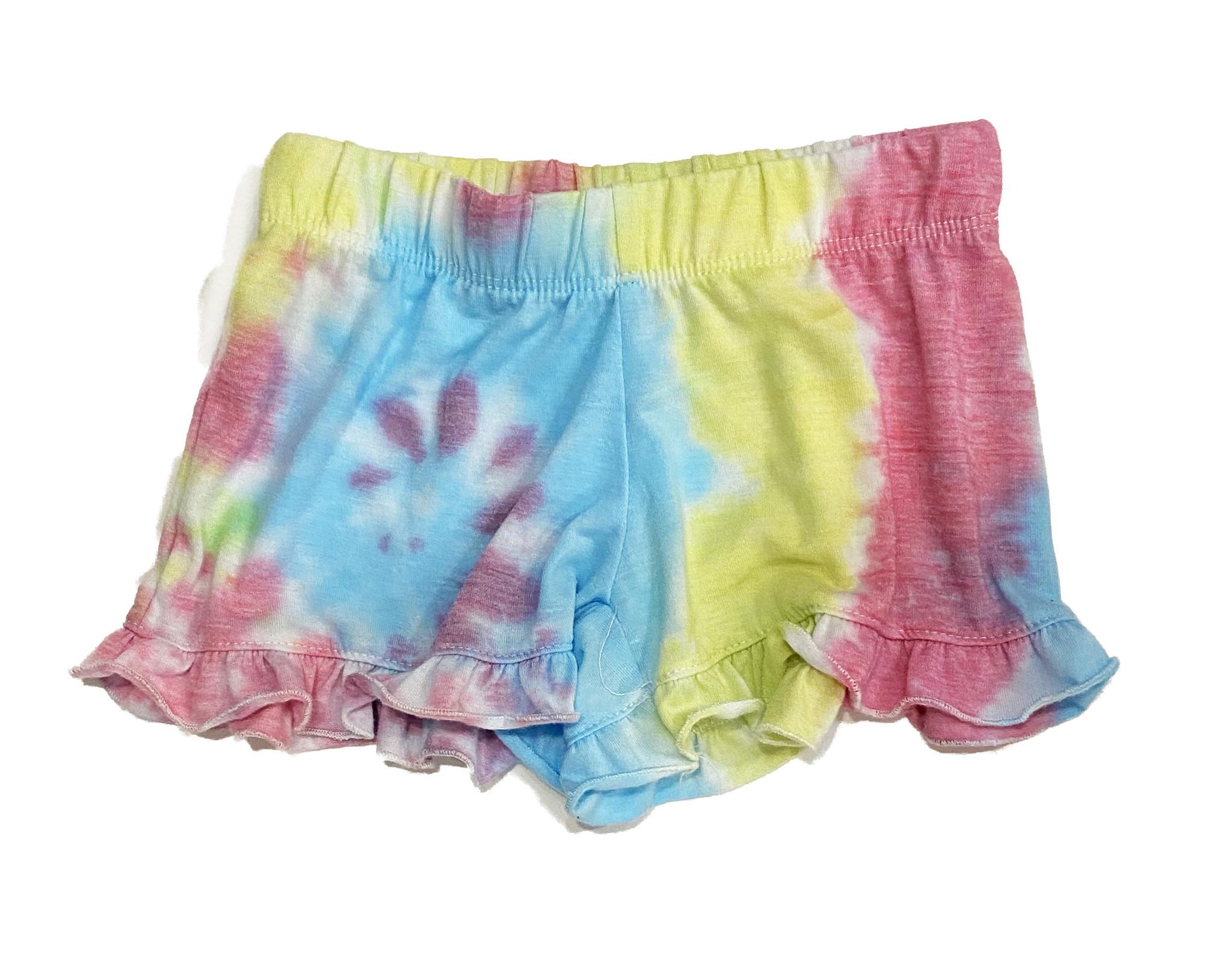 Firehouse Rainbow Swirled Ruffle Shorts