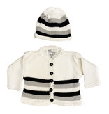 Gita White with Black & Grey Sweater Set