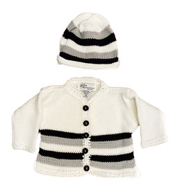 Gita White with Black & Grey Sweater Set
