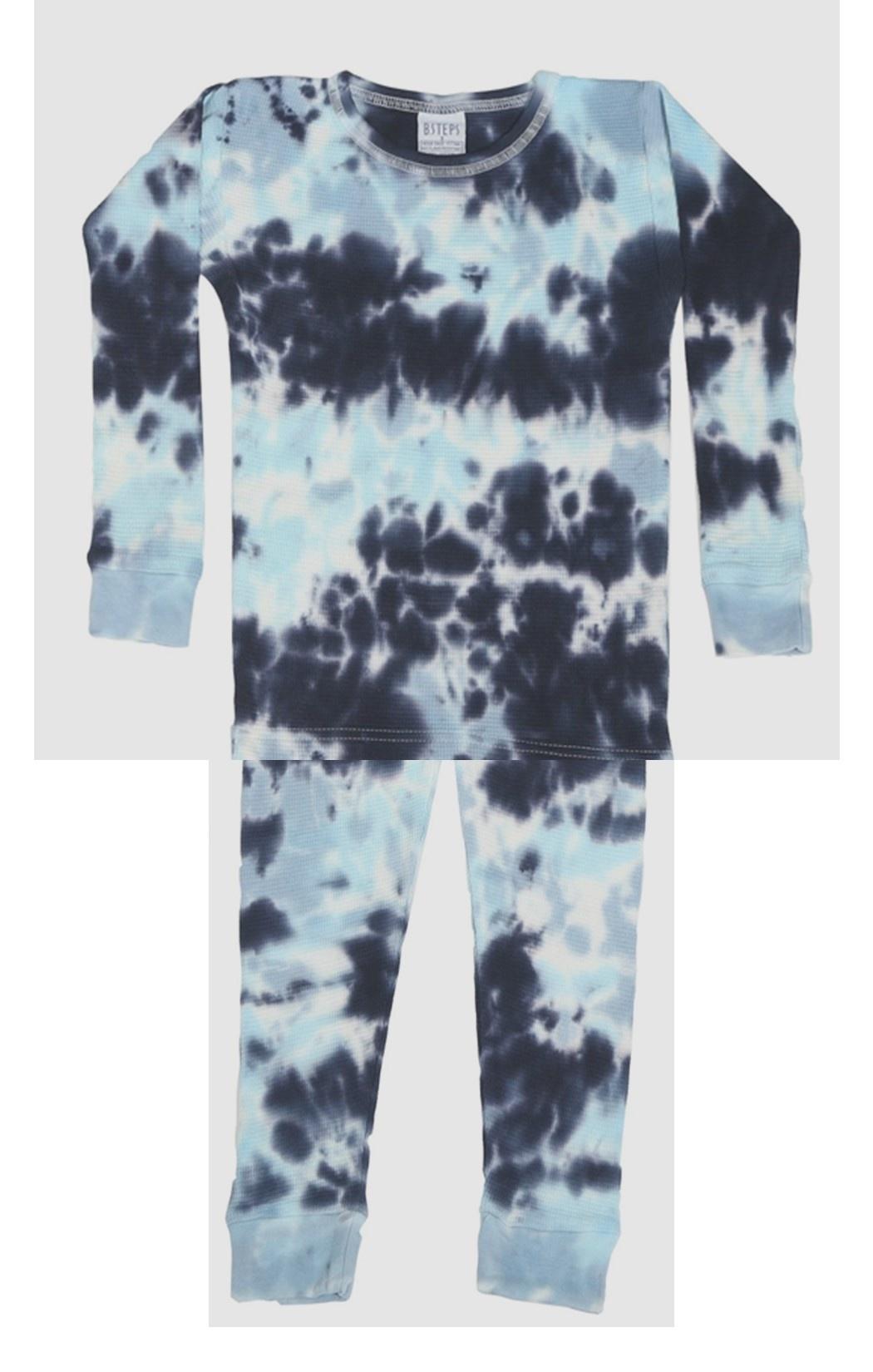 Baby Steps Blue Tie Dye Thermal PJ Set