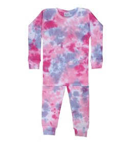 Baby Steps Pink/Purple Tie Dye Thermal PJ Set