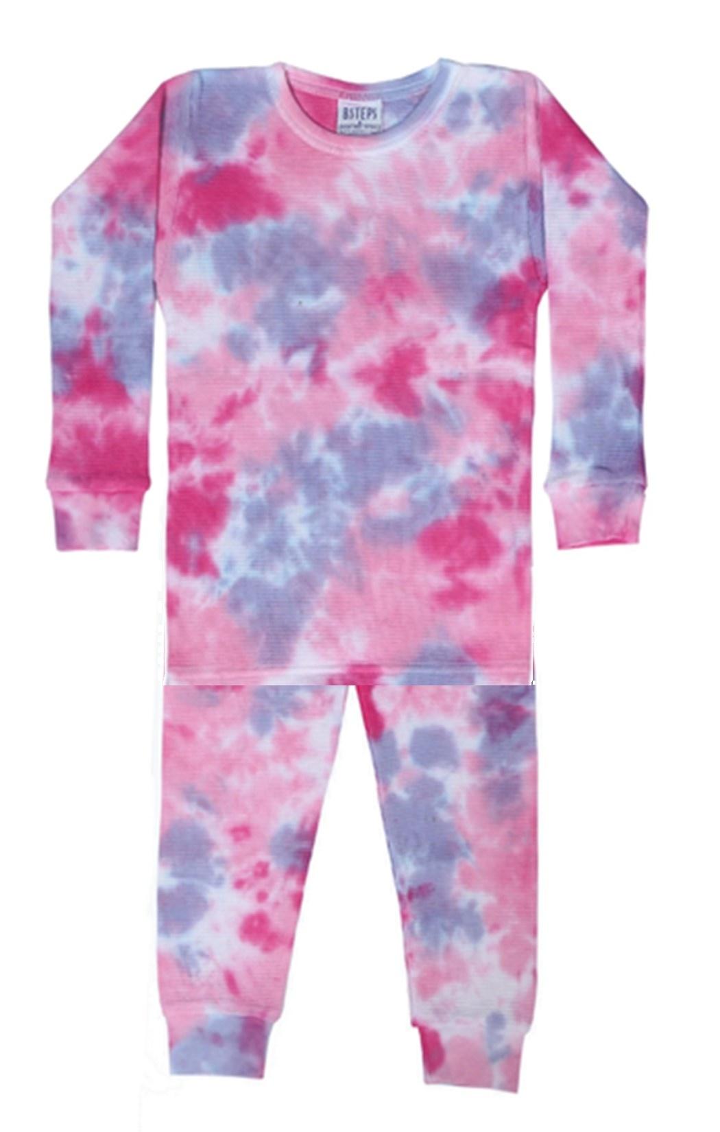 Baby Steps Pink/Purple Tie Dye Thermal PJ Set