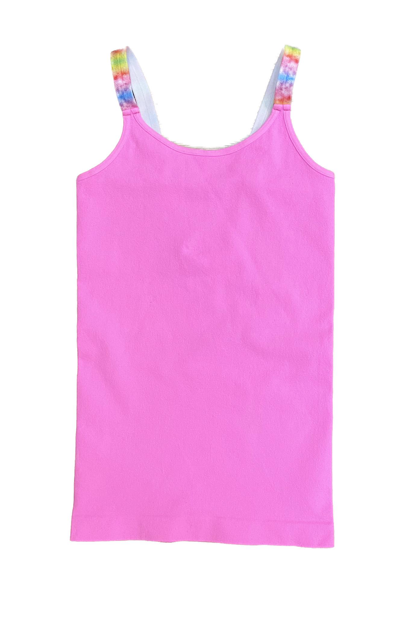 Malibu Sugar Neon Pink w Tie Dye Strap Cami