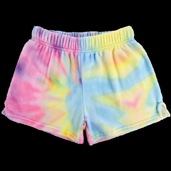 Pastel Tie Dye Plush Lounge Shorts