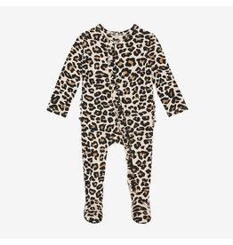 Posh Peanut Lana Leopard Ruffle Footie w Zipper