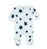 Little Mish White With Navy Star Footie