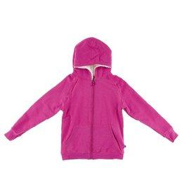 Kickee Pants Pink Zip Hoodie W/ Sherpa Lined Hood
