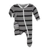 Kickee Pants Black Zebra Stripe Footie