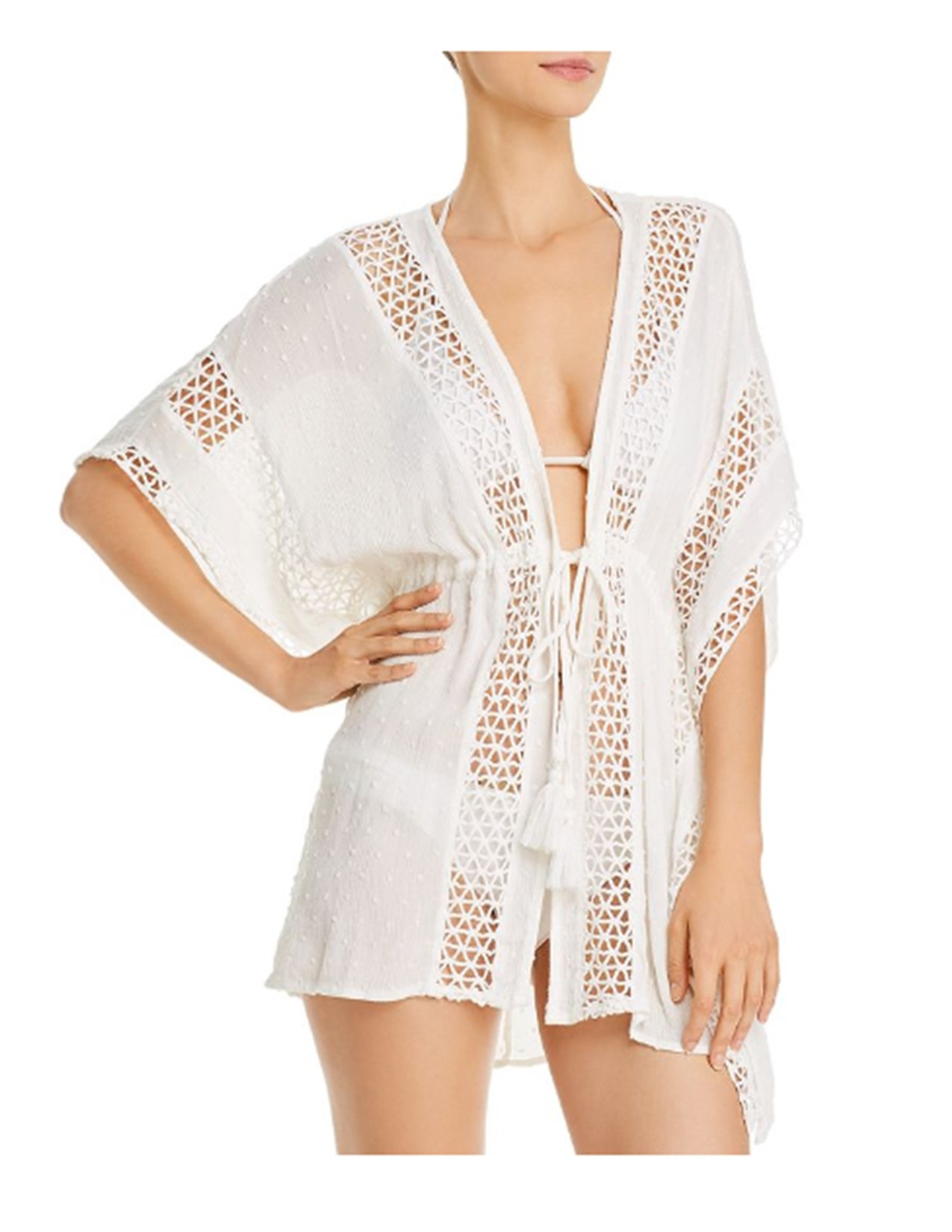 Vintage Havana White Crochet Coverup