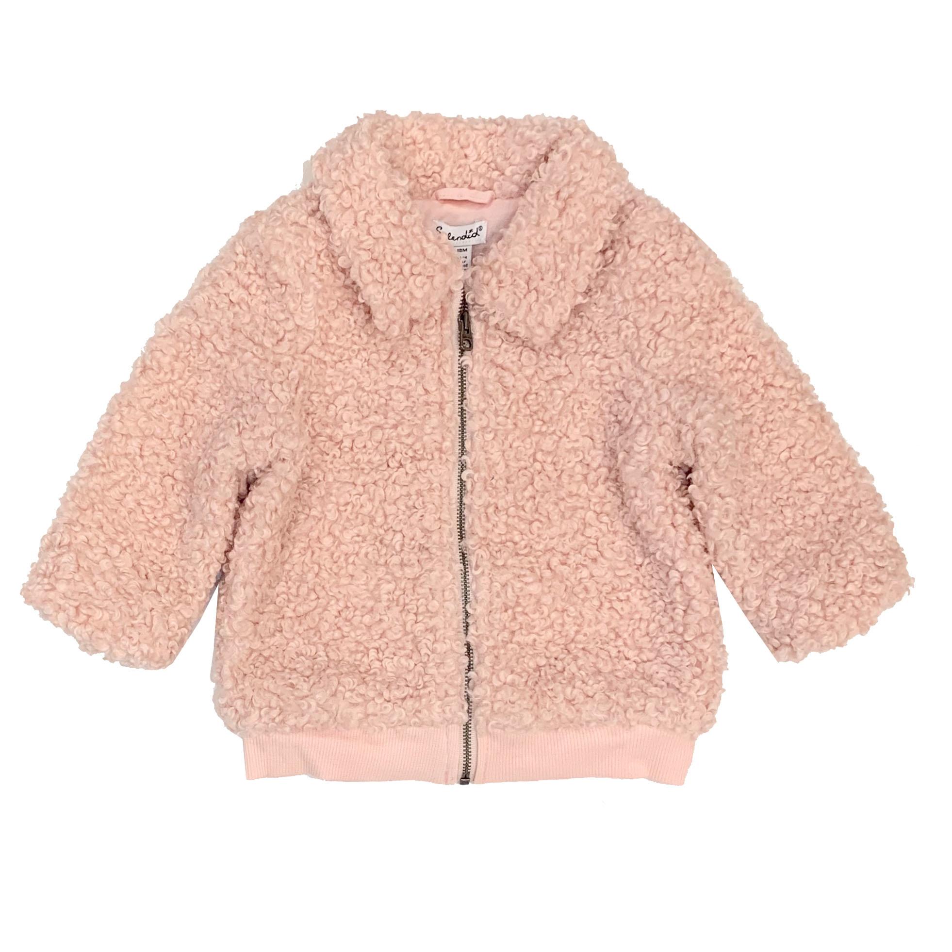 Splendid Pink Infant Faux Fur Jacket