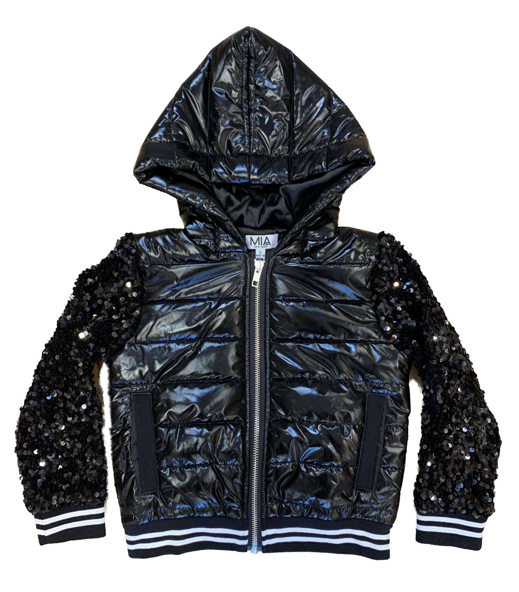 Mia New York Quilted Jacket With Sequin Sleeve