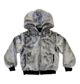 Mia New York Gray Faux Fur Bomber Jacket
