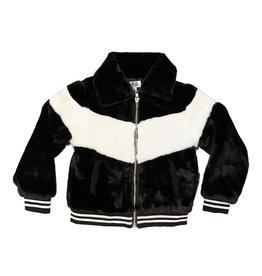 Mia New York Black/White Faux Fur Bomber Jacket