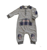 Miki Miette Grey Harvest Plaid Romper