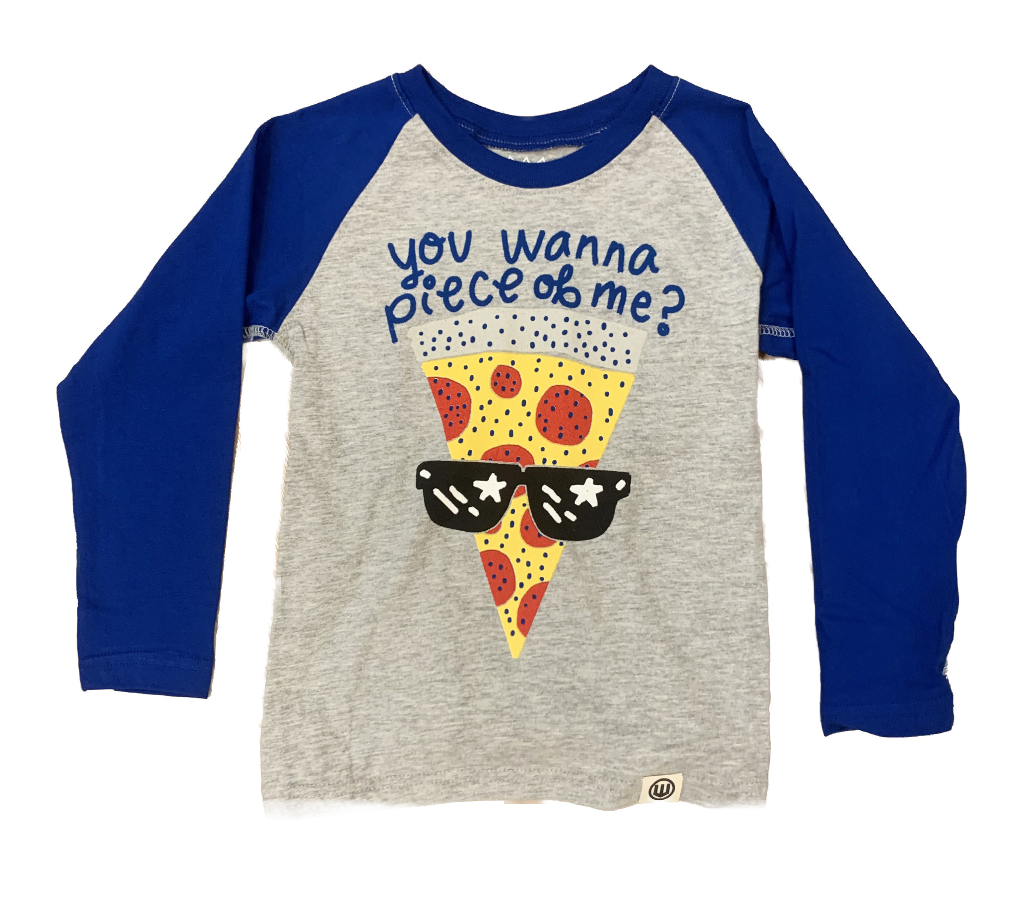 Wes & Willy Grey/Blue Raglan Pizza Top