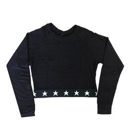 Katie J Super Soft Black Crop Sweatshirt with Star Trim