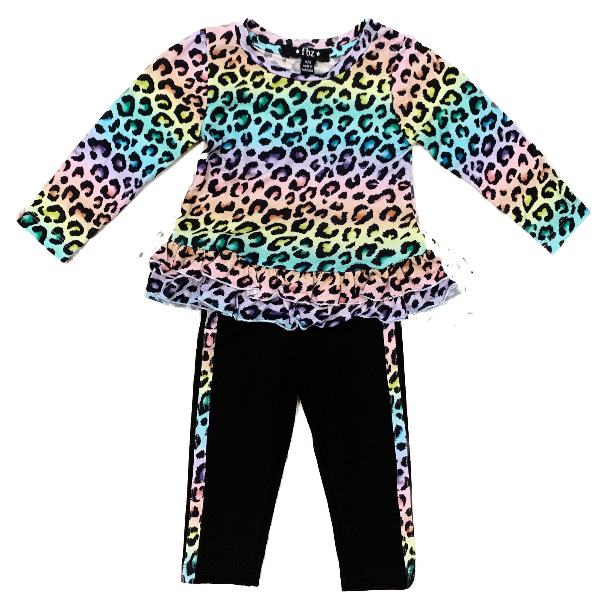 Flowers by Zoe Rainbow Leopard Ruffle Infant Legging Set