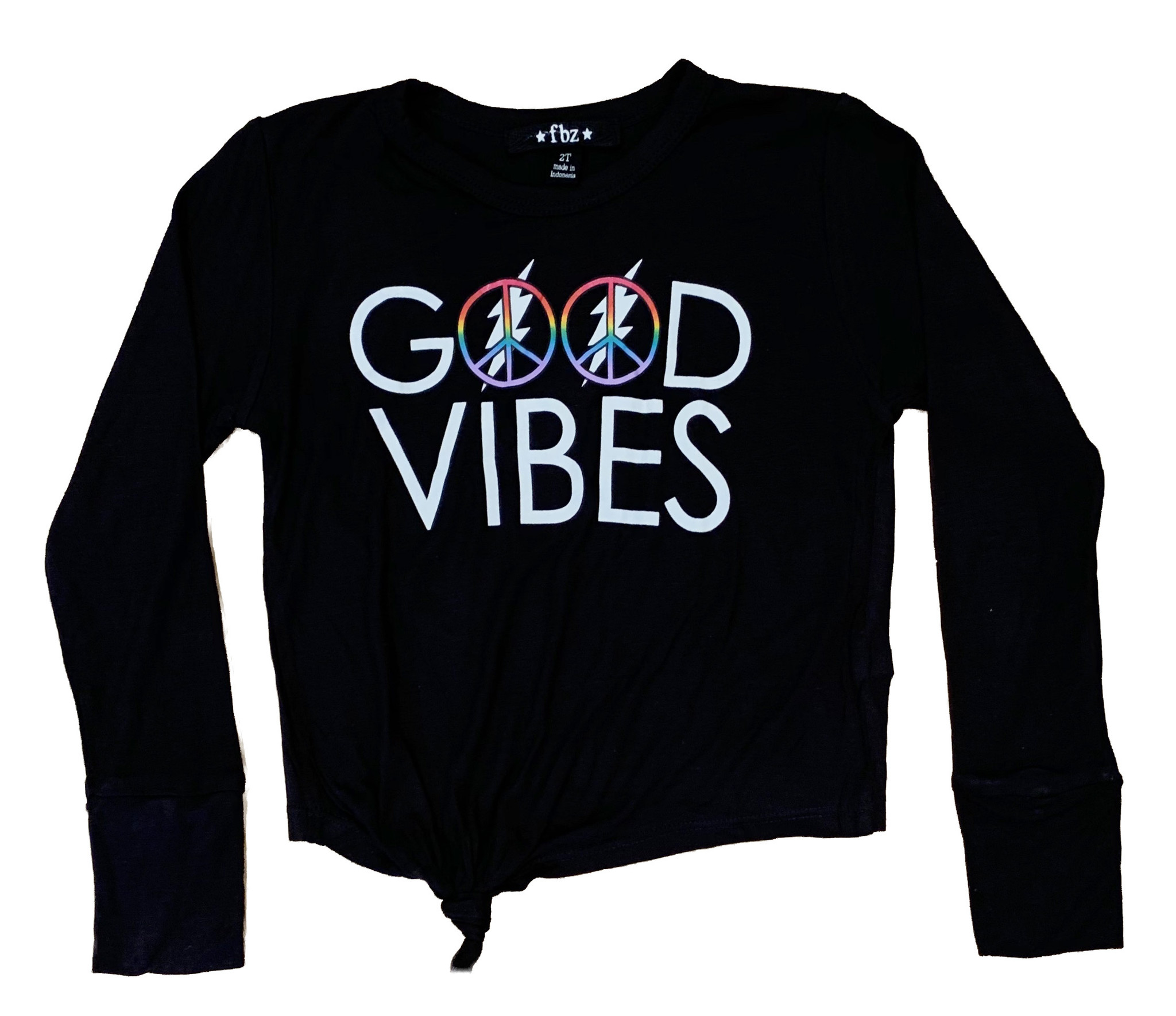 Flowers by Zoe Black Good Vibes Bolt Knot Top