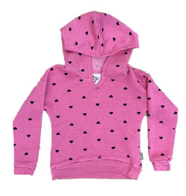 T2Love Hot Pink Hoodied Sweatshirt with Hearts