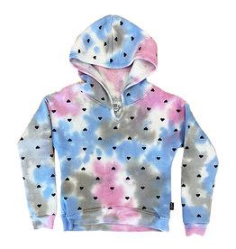 T2Love Tie Dye Hoodied Sweatshirt with Hearts