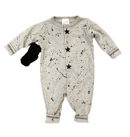Too Sweet Heather Grey with Black Splatter/Stars Outfit
