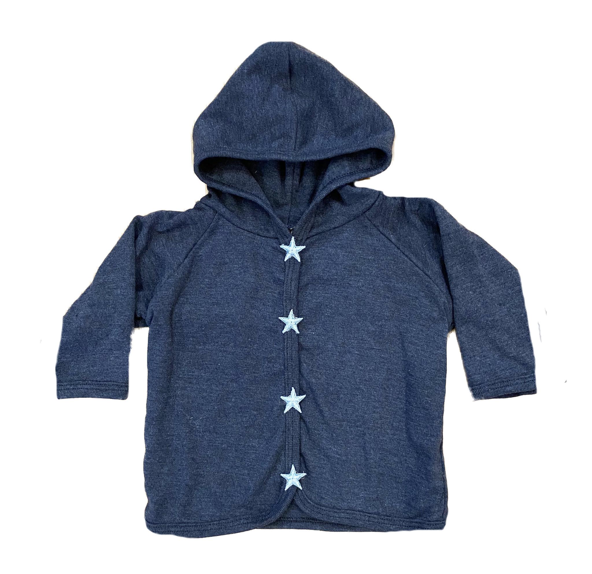Too Sweet Denim with Lt Blue Stars Hooded Jacket