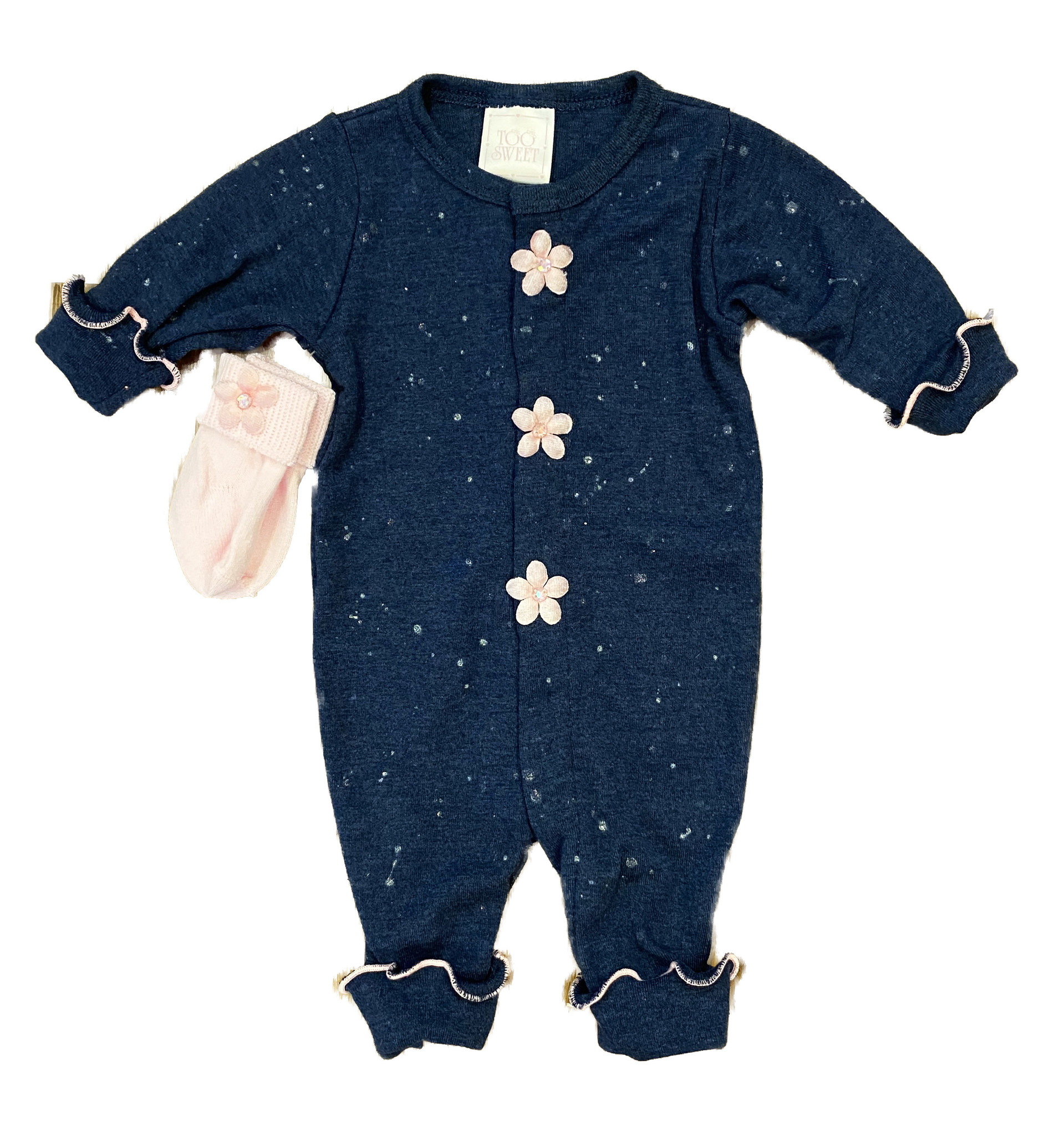 Too Sweet Denim with Lt Pink Splatter Flowers Outfit
