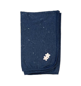 Too Sweet Denim with Pink Splatter Flowers Blanket