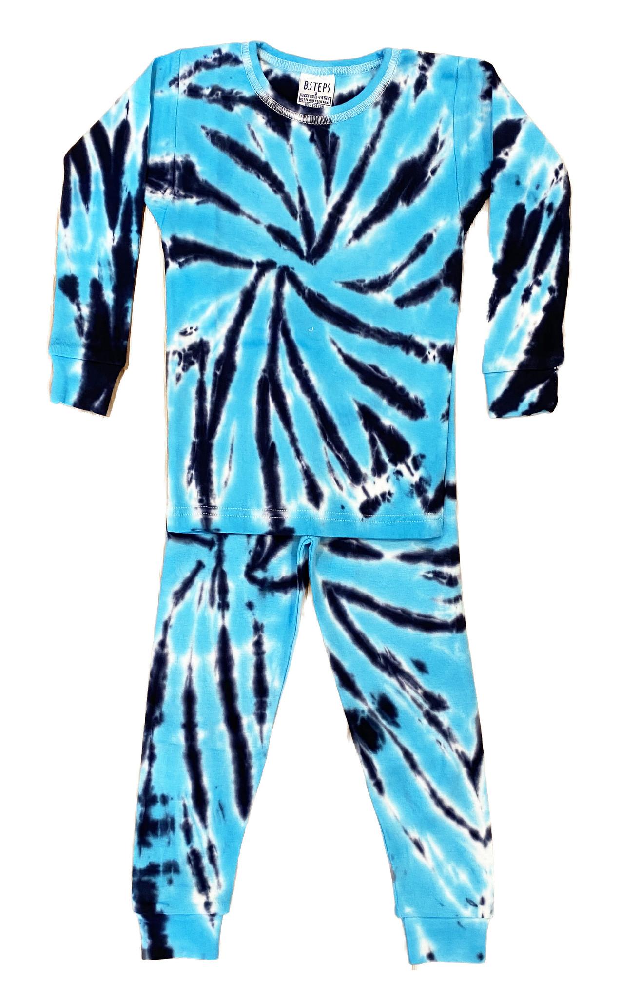 Baby Steps Turq/Navy Tie Dye Cotton PJ Set