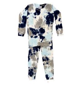 Baby Steps Navy/Grey Tie Dye Infant Cotton PJ Set