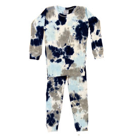 Baby Steps Navy/Grey Tie Dye Cotton PJ Set
