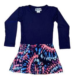 Dori Creations Navy Pink Batik Dress