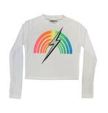 Firehouse White Rainbow Bolt LS Crop Tee