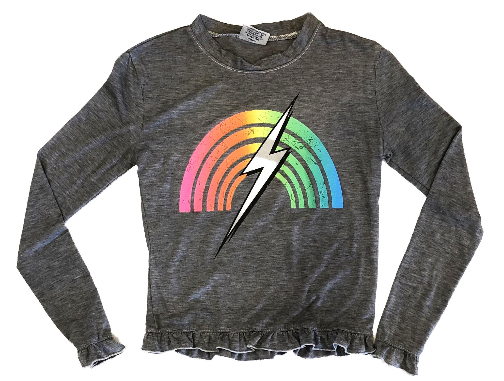 Firehouse Grey Rainbow Bolt Ruffle Top