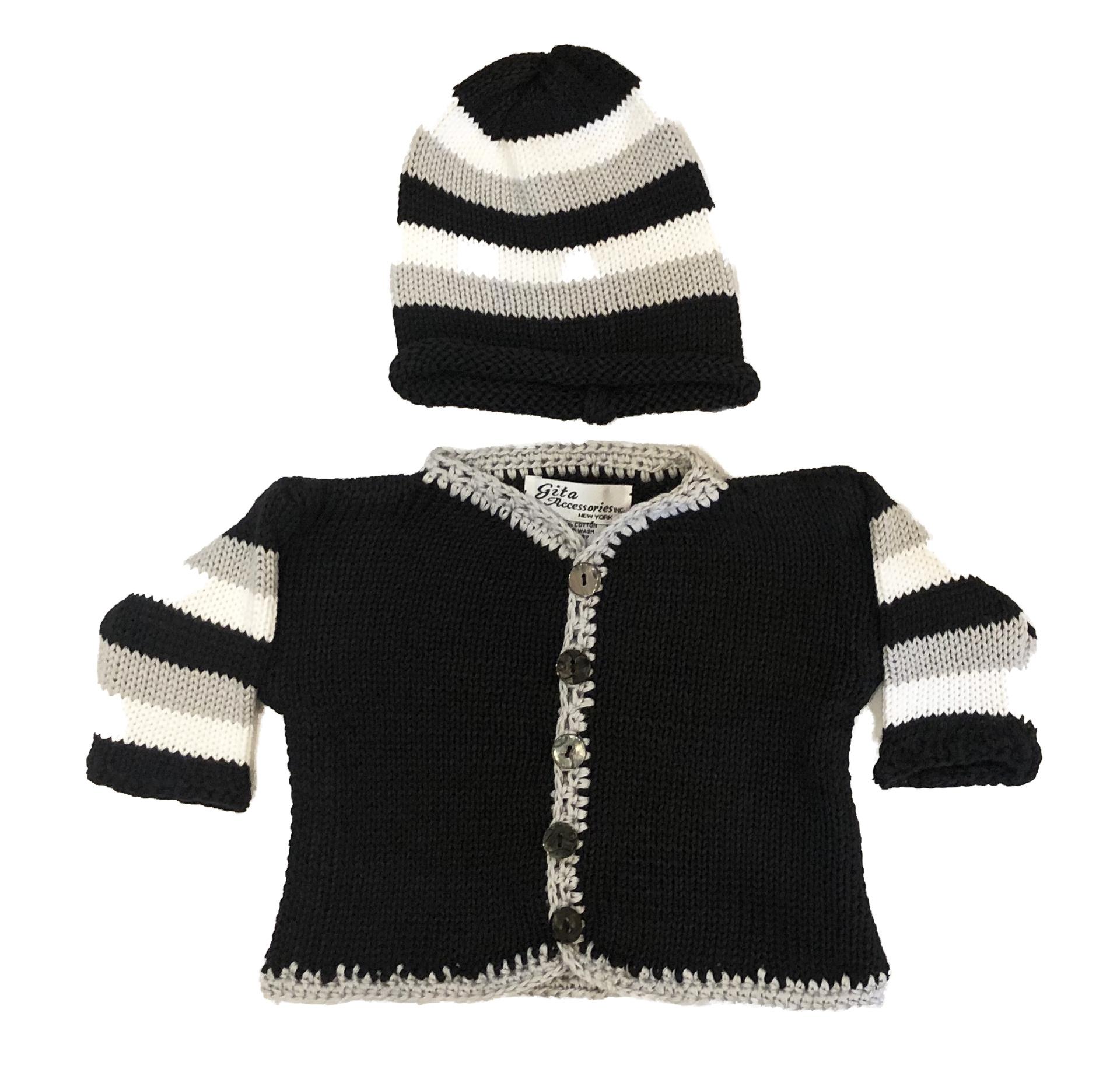 Gita Black, Grey & White Sweater Set