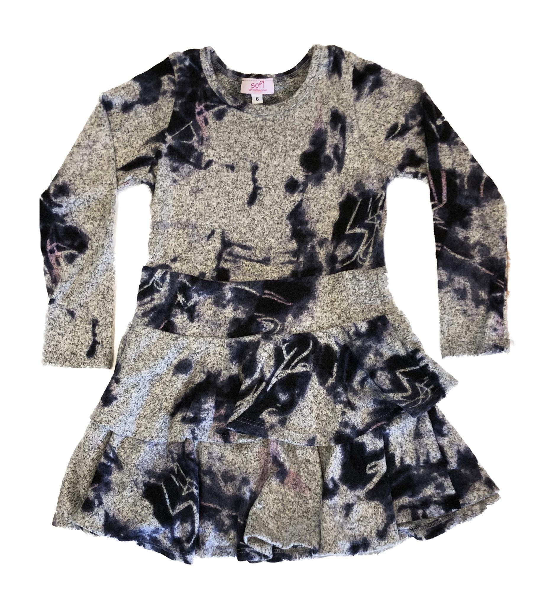 Sofi Navy/Grey Hacci 2 Tier Dress