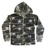 Vintage Havana Camo Star Embroidery Zip Up Hoodie