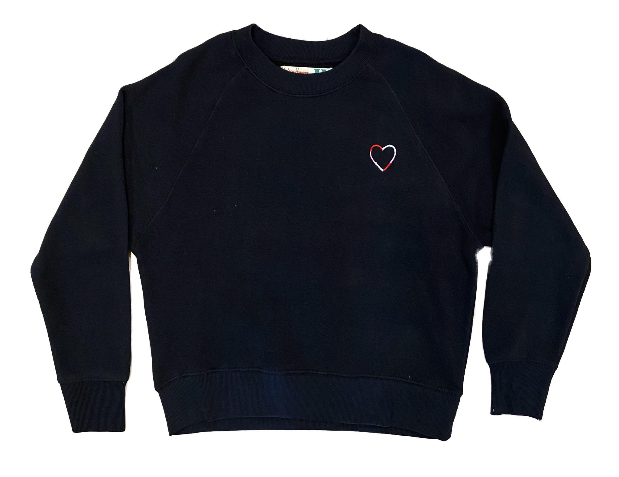 Vintage Havana Black Sweatshirt with Heart