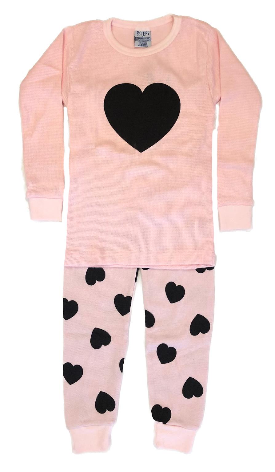 Baby Steps Pink Heart Thermal Infant PJ Set