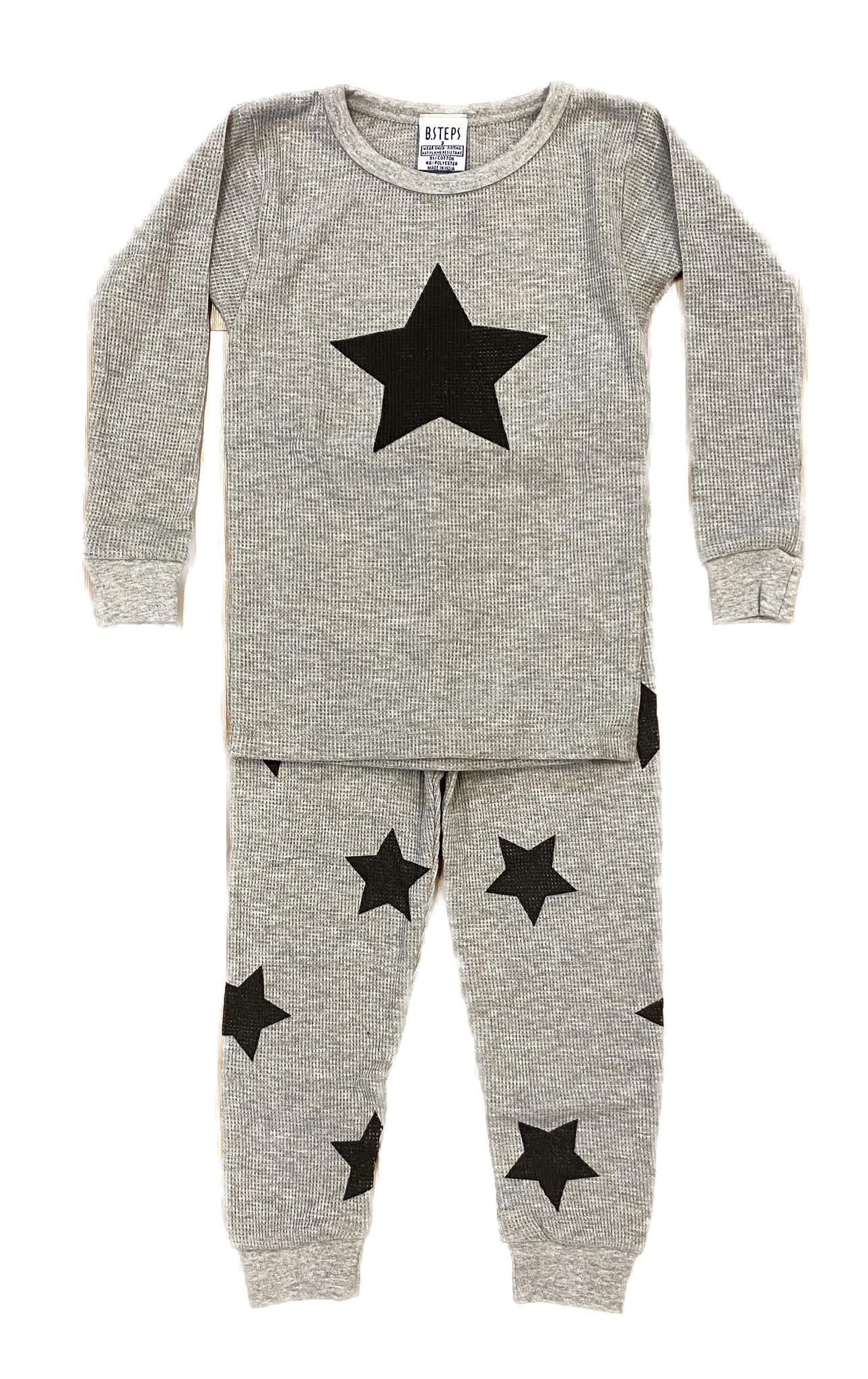 Baby Steps Heather Grey Star Thermal Infant PJ Set