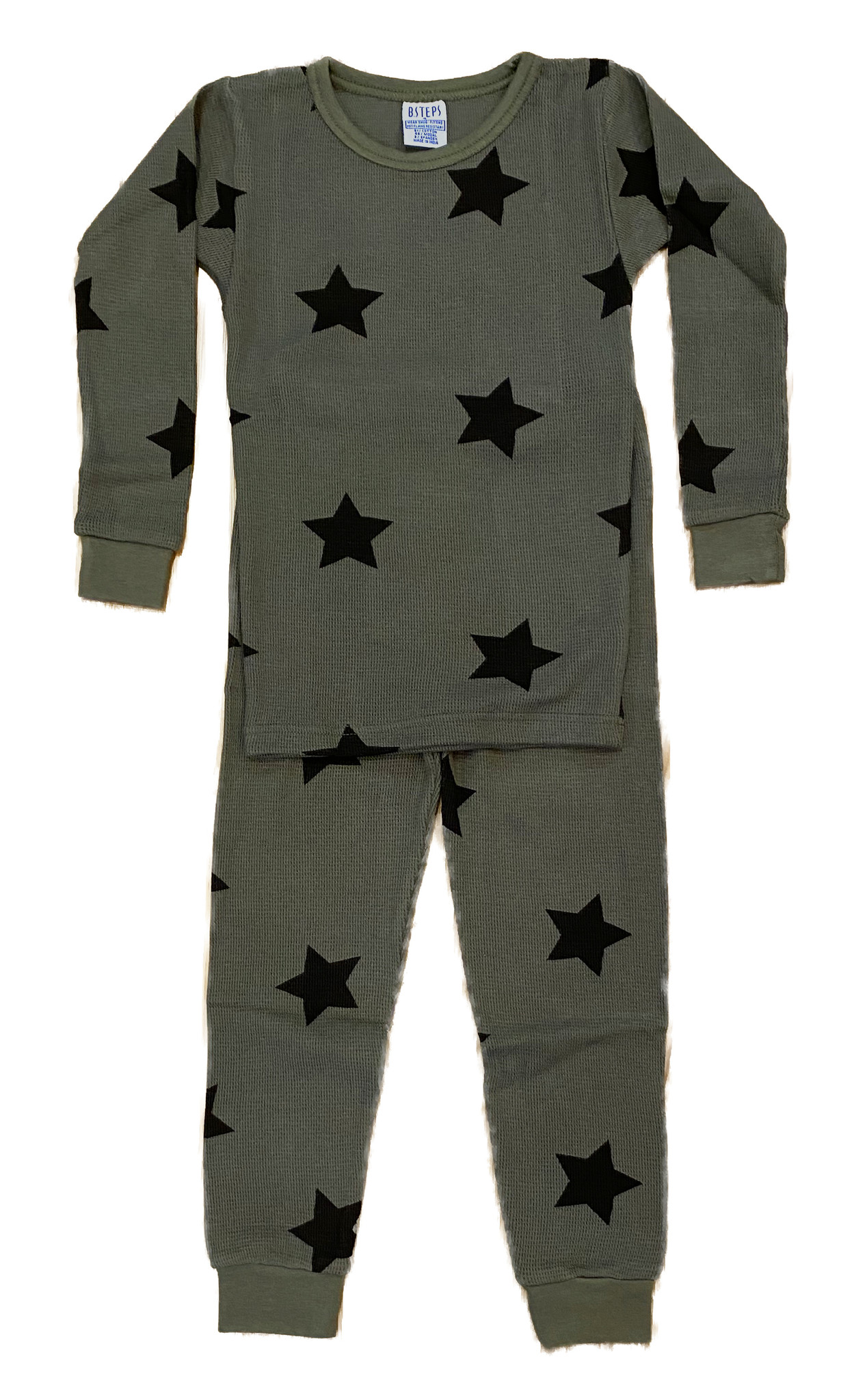 Baby Steps Olive Star Thermal PJ Set