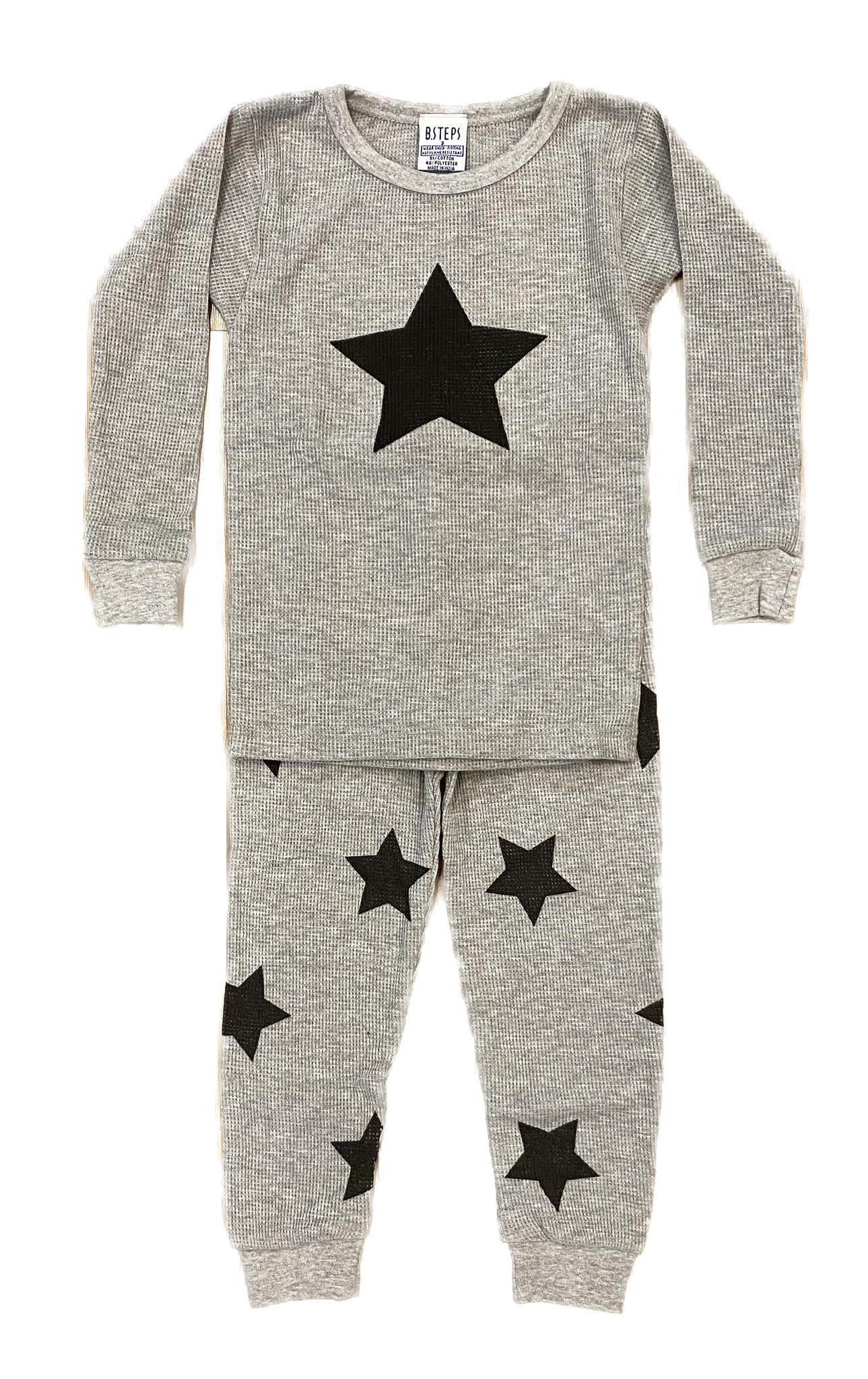 Baby Steps Heather Grey Star Thermal PJ Set