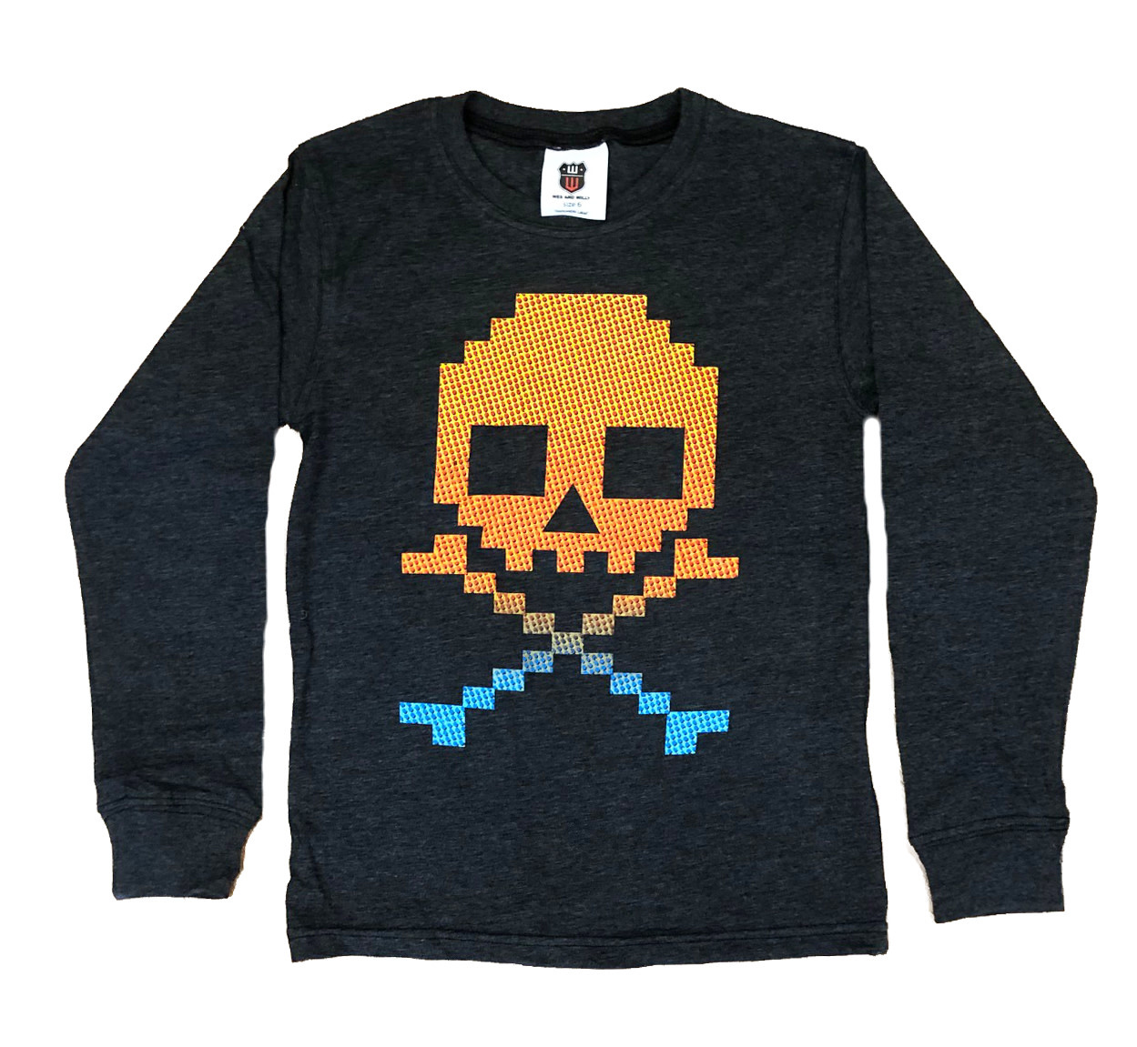 Wes and Willy Charcoal Gradient Skull Top