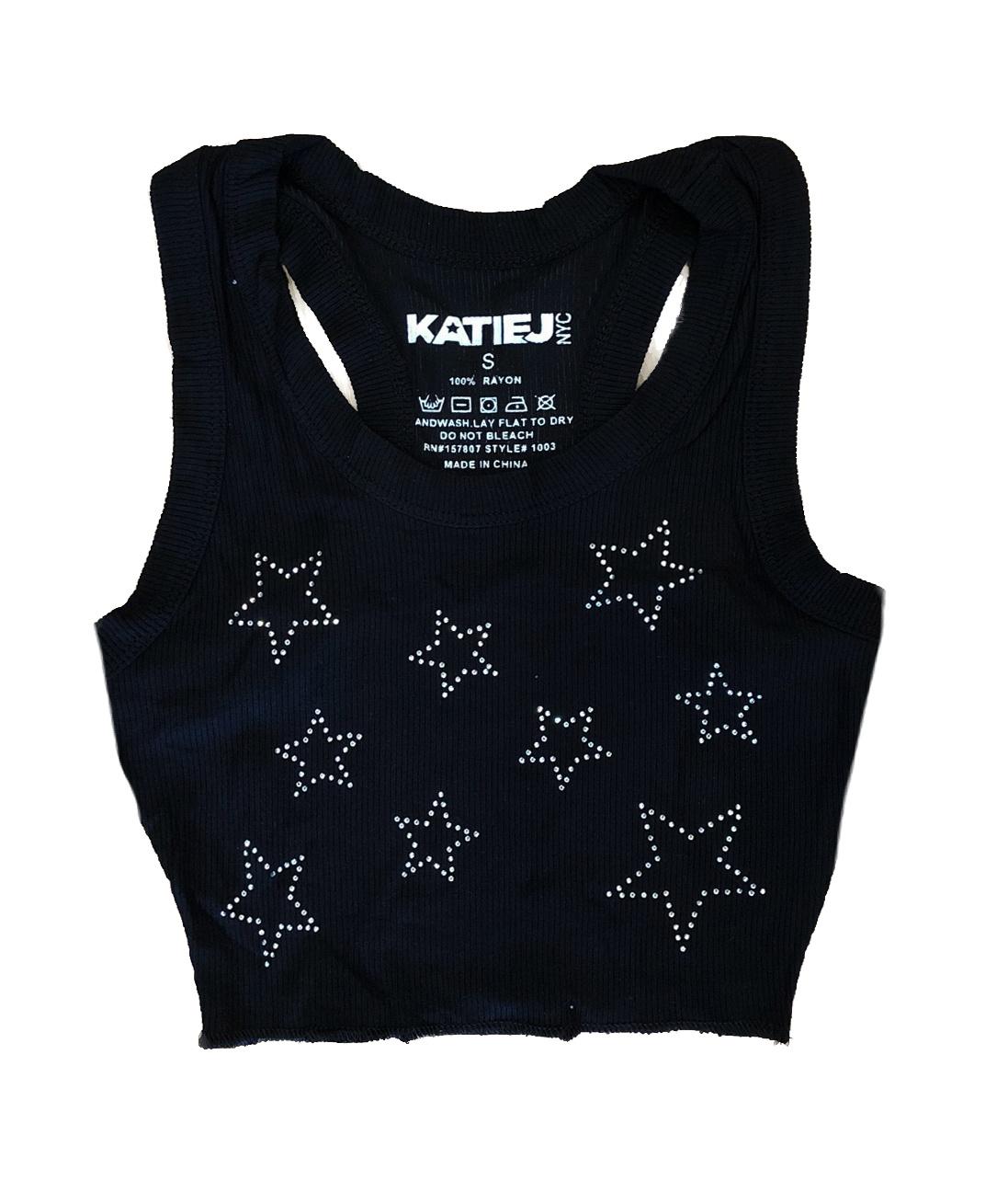 Katie J NYC Livi Black Star Crop Tank